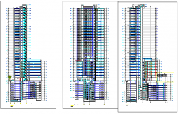 30 floors office building all sided elevation view details dwg file