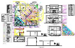Commercial building architecture detail and plan
