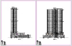 section drawing of offices and apartments