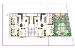 3BHK Apartment Furniture Layout Plan With Landscaping Design AutoCAD File