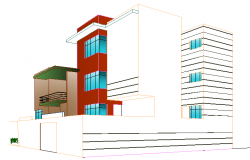 3D Design of Bungalow Architecture Layout dwg file