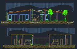 3D Design of Bungalow Elevation dwg file