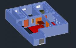3D Design of Bungalow Elevation dwg file.