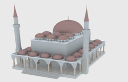 3D Drawing of Multi-Flooring Mosque dwg file