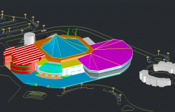 3D Elevation of City Sports Center Architecture Layout dwg file