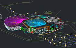 3D Elevation of Multi-Purpose City Sports Ground dwg file