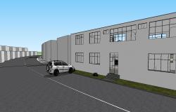 3D Factory Building Design With Car Parking SKP File