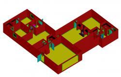 3D House Plan Model DWG File