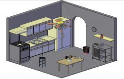 3D Kitchen Model DWG File