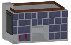 3D Of Glass Facade Commercial Building Elevation With Rendered AutoCAD File