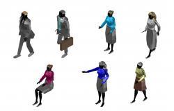 3D Person Cad Blocks