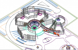 3D View of Islamic Center Architecture Layout dwg file