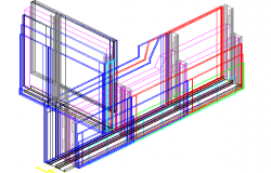 3D View of Wall Construction Design dwg file