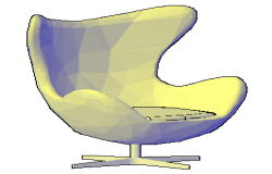 3D chair egg type with applied materials design drawing