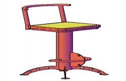 3D chair for bar with materials design drawing