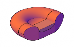 3D design drawing of a Single smile sofa