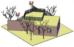 3D design drawing of bungalow design