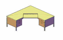 3D design drawing of free standing table with applied material