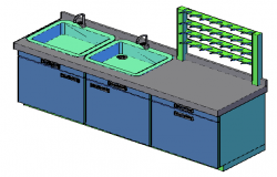 3D design drawing of laboratory cleaning station design
