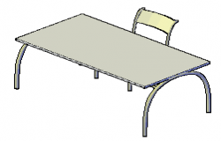 3D design drawing of linear work table