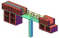 3D design of construction design of lintel level design drawing