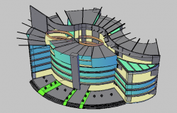3D design view of apartment dwg file