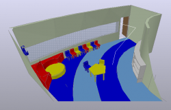 3D design view of school class room view dwg file