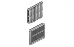 3D detail of a wooden frame dwg file