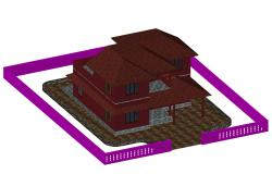3D drawing of 2 Storey house in AutoCAD