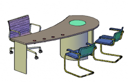 3D drawing of Table and chairs for used in offices