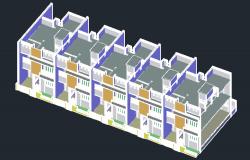 3D drawing of a residential tenement in AutoCAD