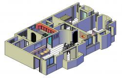 3D drawing of apartment interior in dwg file