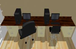 3D drawing of office desk in sketchup