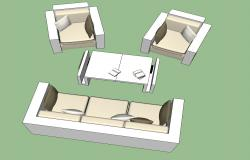 3D drawing of sofa in sketchup