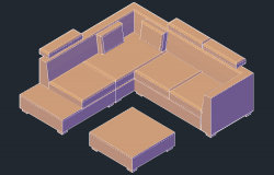 3D drawing of sofa set in dwg file