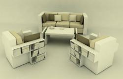 3D drawing of sofa set in sketchup