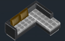 3D drawing of the sofa in AutoCAD