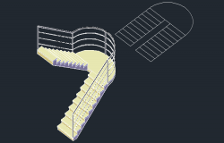 3D drawing of the staircase in AutoCAD