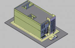 3D elevation view of a high rise building dwg file