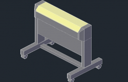 3D image of a stand with wheels