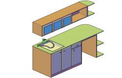 3D kitchen Platform DWG File