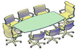 3D meeting table and chairs design drawing