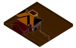 3D one family housing plan dwg file