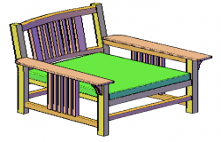3D side chair of mission style design drawing