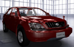 3D vehicle of Toyota harrier car design drawing with red color