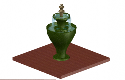 3D view fountain detail dwg file