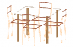 3D view of Dining table set (1)