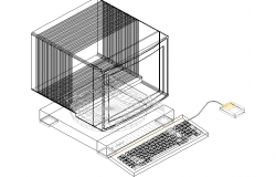 3D view of a computer with a mouse and keyboard
