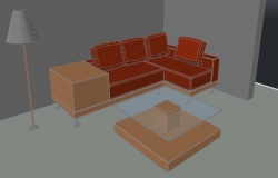 3D view of a living room.