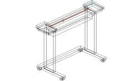 3D view of a stand with wheels